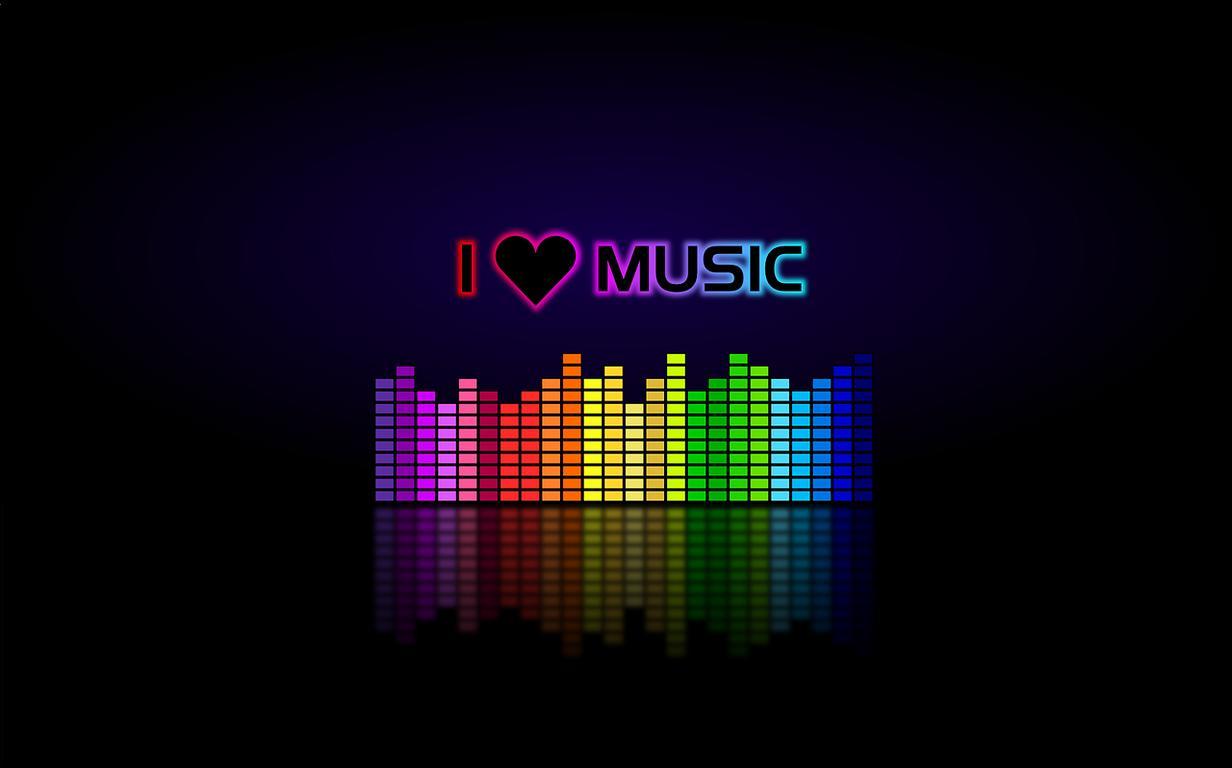 Bunter Equalizer mit I Love Music Schriftzug