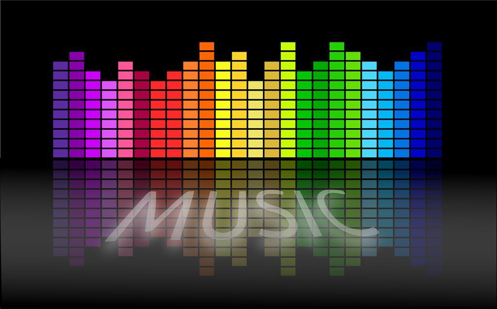 Bunter Equalizer mit Music Schriftzug